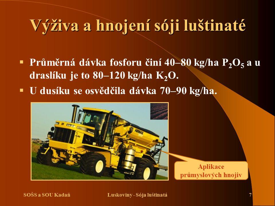 SOŠS a SOU KadaňLuskoviny - Sója luštinatá7 Výživa a hnojení sóji luštinaté  Průměrná dávka fosforu činí 40–80 kg/ha P 2 O 5 a u draslíku je to 80–12