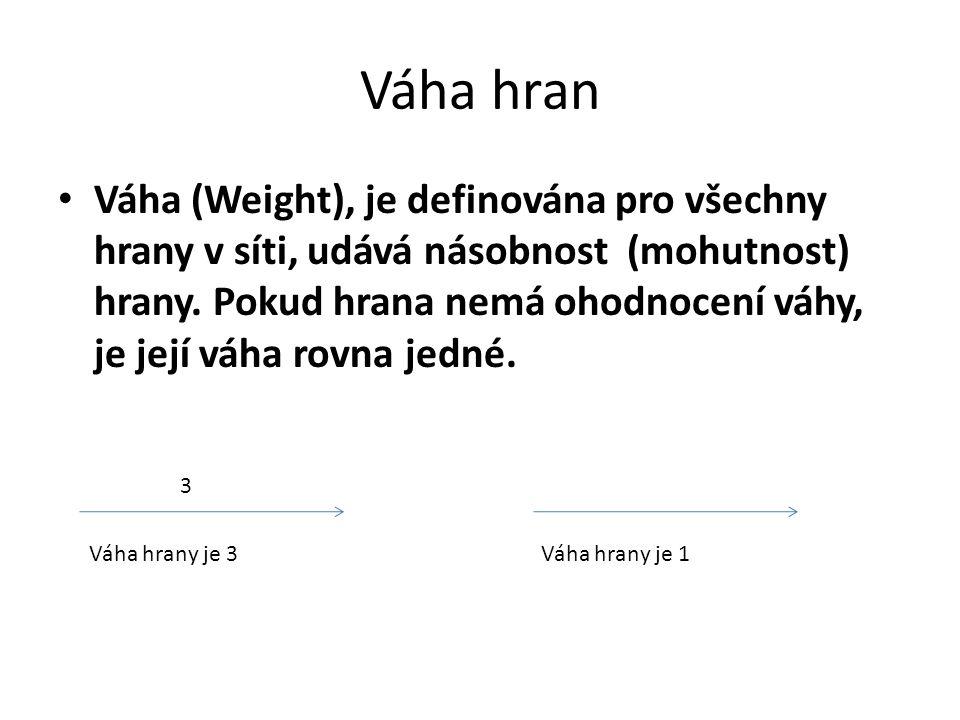 Váha hran Váha (Weight), je definována pro všechny hrany v síti, udává násobnost (mohutnost) hrany. Pokud hrana nemá ohodnocení váhy, je její váha rov
