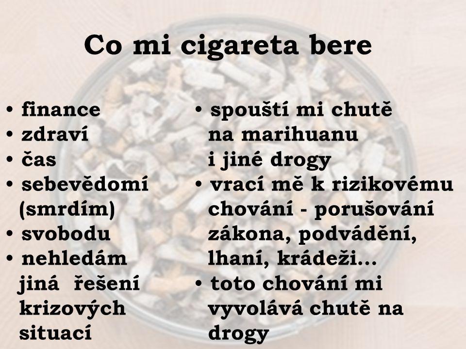 Co mi cigareta bere finance zdraví čas sebevědomí (smrdím) svobodu nehledám jiná řešení krizových situací spouští mi chutě na marihuanu i jiné drogy v