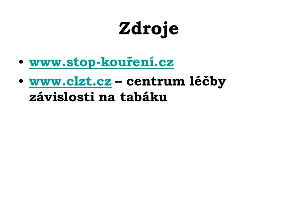 Zdroje www.stop-kouření.cz www.clzt.cz – centrum léčby závislosti na tabáku www.clzt.cz