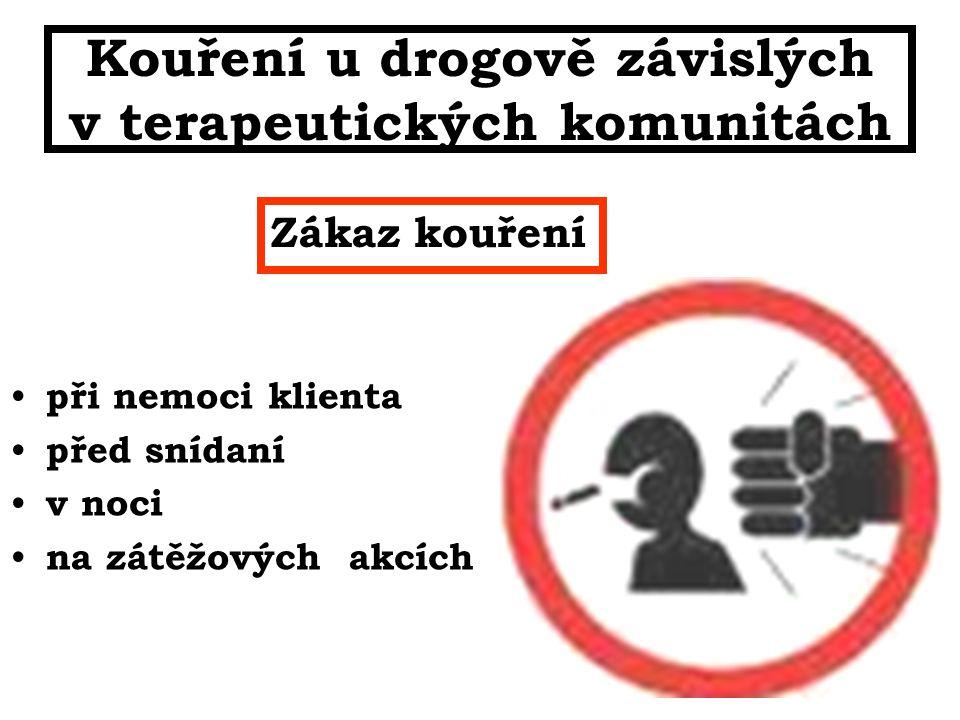 Kouření u drogově závislých v terapeutických komunitách při nemoci klienta před snídaní v noci na zátěžových akcích Zákaz kouření