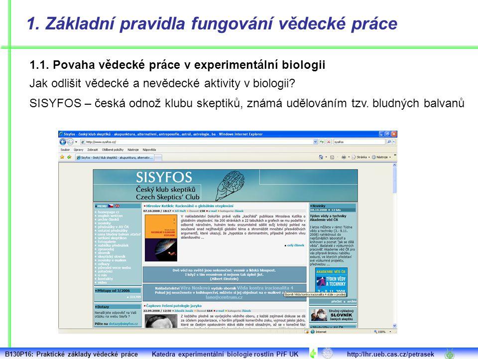 1. Základní pravidla fungování vědecké práce 1.1. Povaha vědecké práce v experimentální biologii Jak odlišit vědecké a nevědecké aktivity v biologii?