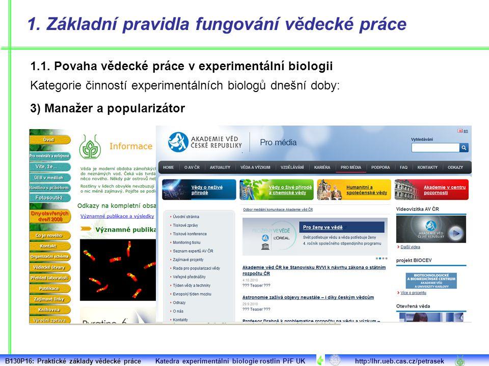 1. Základní pravidla fungování vědecké práce 1.1. Povaha vědecké práce v experimentální biologii Kategorie činností experimentálních biologů dnešní do