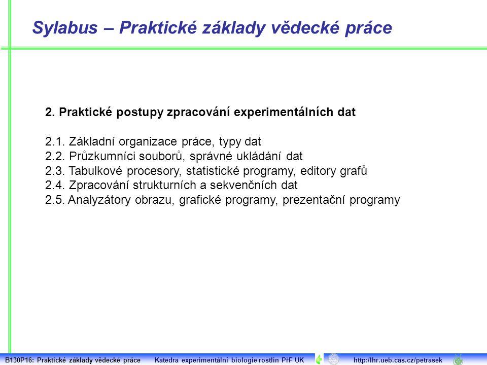 2. Praktické postupy zpracování experimentálních dat 2.1. Základní organizace práce, typy dat 2.2. Průzkumníci souborů, správné ukládání dat 2.3. Tabu