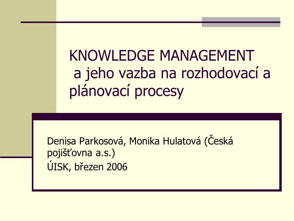 KNOWLEDGE MANAGEMENT a jeho vazba na rozhodovací a plánovací procesy Denisa Parkosová, Monika Hulatová (Česká pojišťovna a.s.) ÚISK, březen 2006