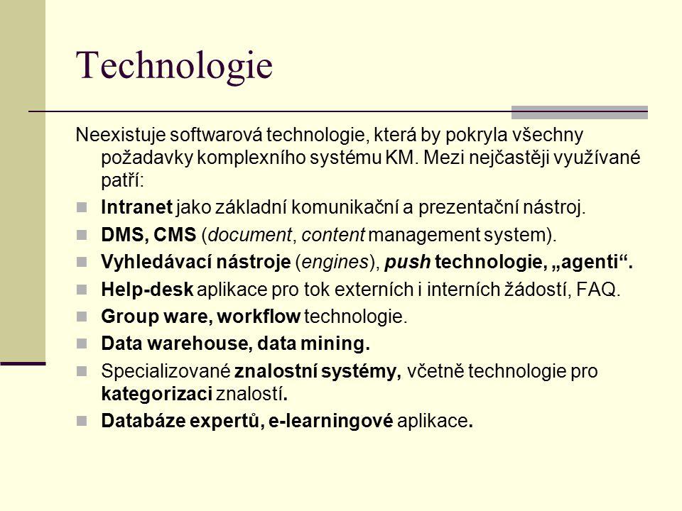 Technologie Neexistuje softwarová technologie, která by pokryla všechny požadavky komplexního systému KM. Mezi nejčastěji využívané patří: Intranet ja