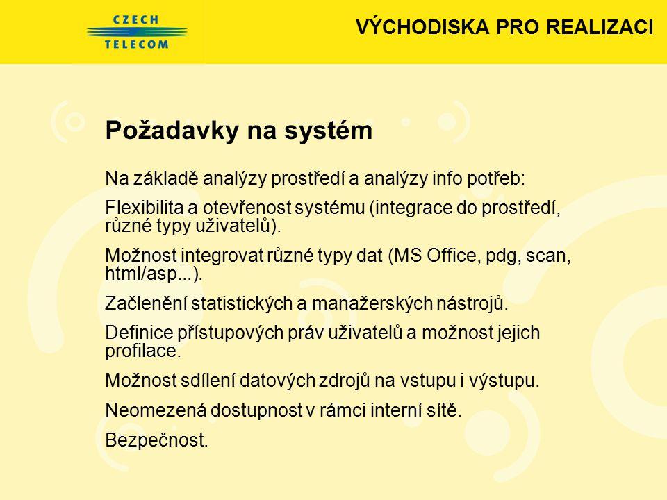 Požadavky na systém Na základě analýzy prostředí a analýzy info potřeb: Flexibilita a otevřenost systému (integrace do prostředí, různé typy uživatelů