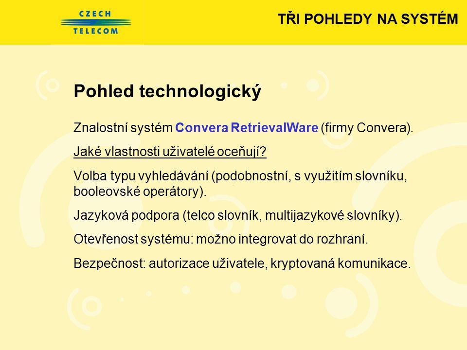 Pohled technologický Znalostní systém Convera RetrievalWare (firmy Convera). Jaké vlastnosti uživatelé oceňují? Volba typu vyhledávání (podobnostní, s