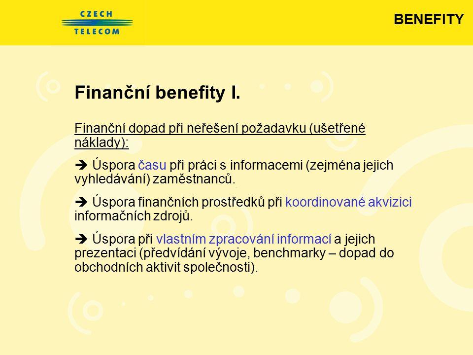 Finanční benefity I. Finanční dopad při neřešení požadavku (ušetřené náklady):  Úspora času při práci s informacemi (zejména jejich vyhledávání) zamě