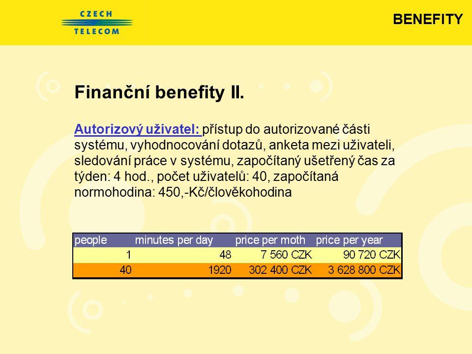 Finanční benefity II. Autorizový uživatel: přístup do autorizované části systému, vyhodnocování dotazů, anketa mezi uživateli, sledování práce v systé
