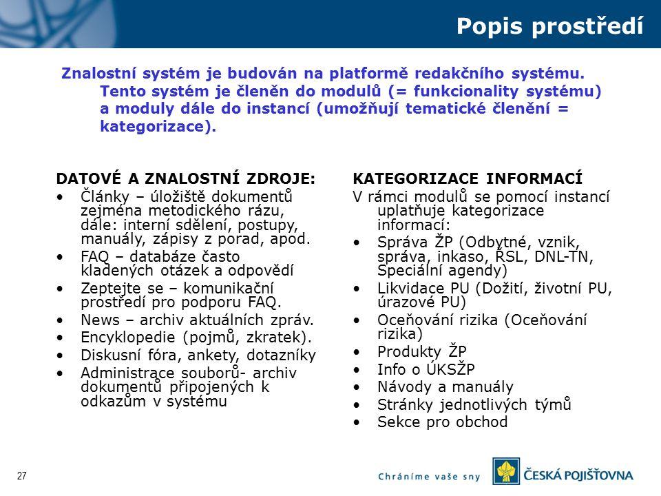 27 Znalostní systém je budován na platformě redakčního systému. Tento systém je členěn do modulů (= funkcionality systému) a moduly dále do instancí (