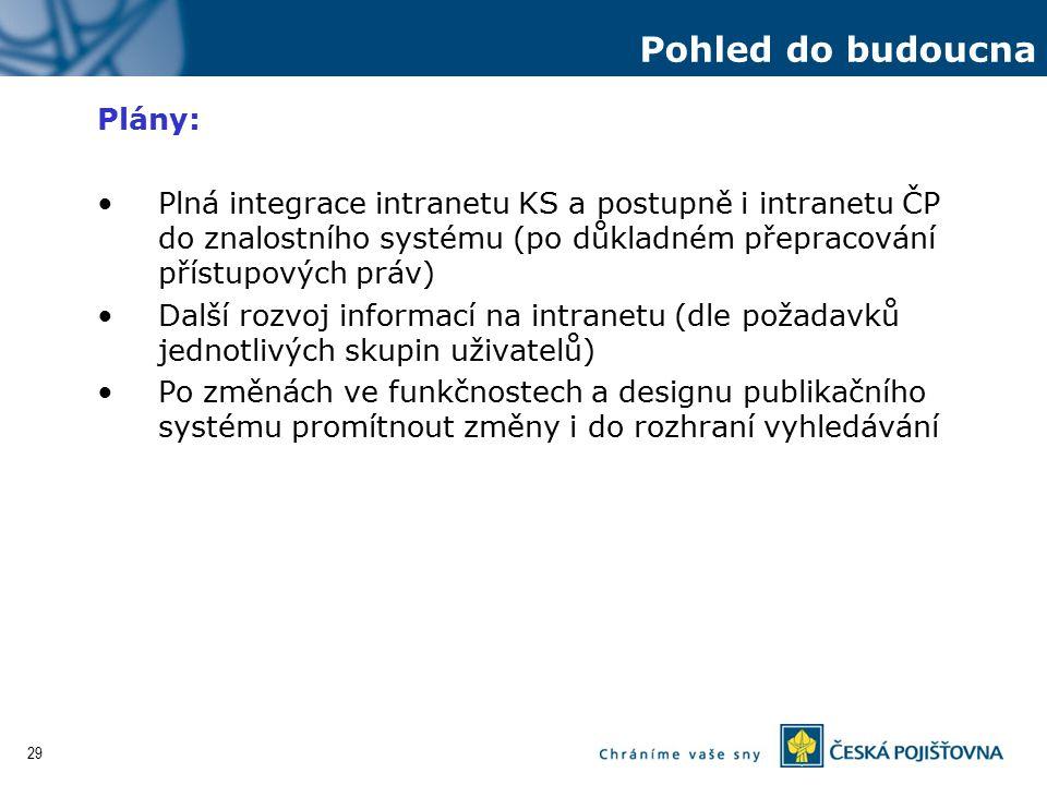 29 Plány: Plná integrace intranetu KS a postupně i intranetu ČP do znalostního systému (po důkladném přepracování přístupových práv) Další rozvoj info
