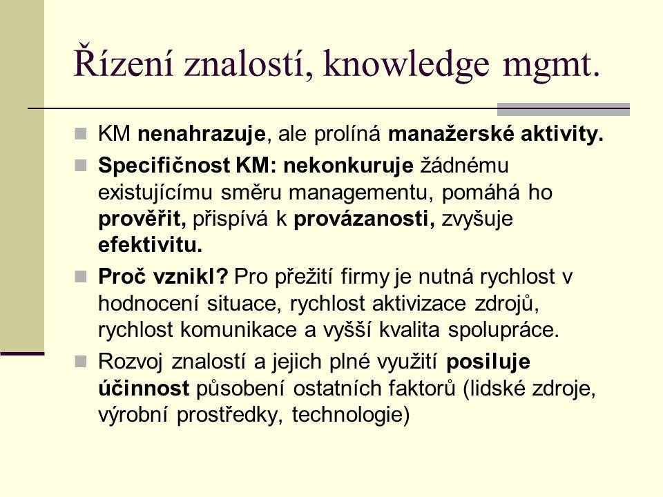 Řízení znalostí, knowledge mgmt. KM nenahrazuje, ale prolíná manažerské aktivity. Specifičnost KM: nekonkuruje žádnému existujícímu směru managementu,