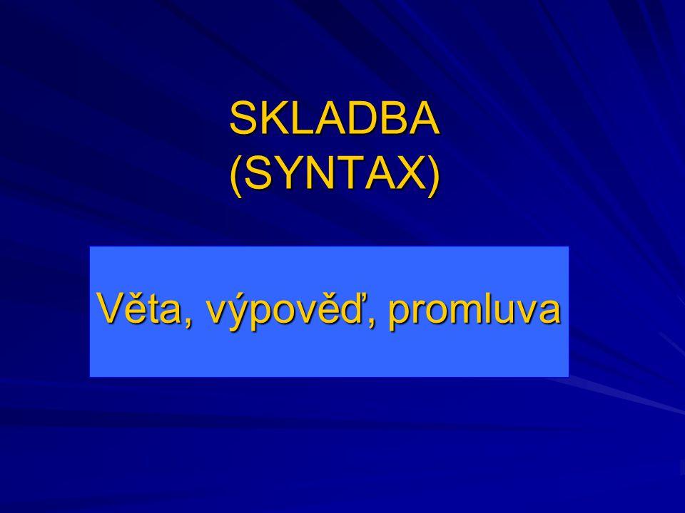 SKLADBA (SYNTAX) Věta, výpověď, promluva