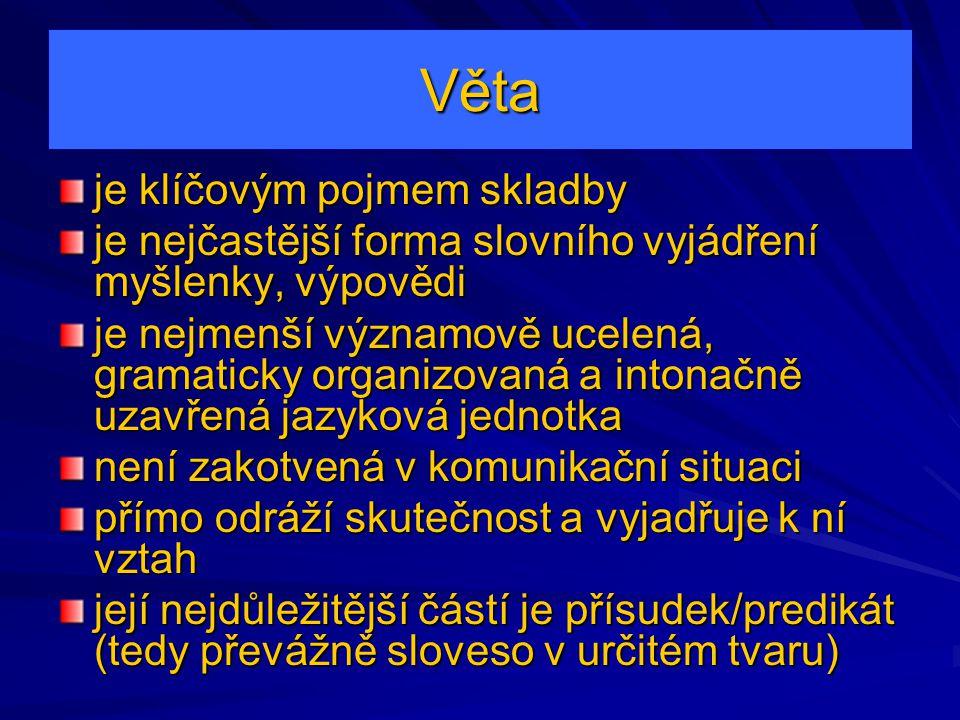 Věta je klíčovým pojmem skladby je nejčastější forma slovního vyjádření myšlenky, výpovědi je nejmenší významově ucelená, gramaticky organizovaná a in