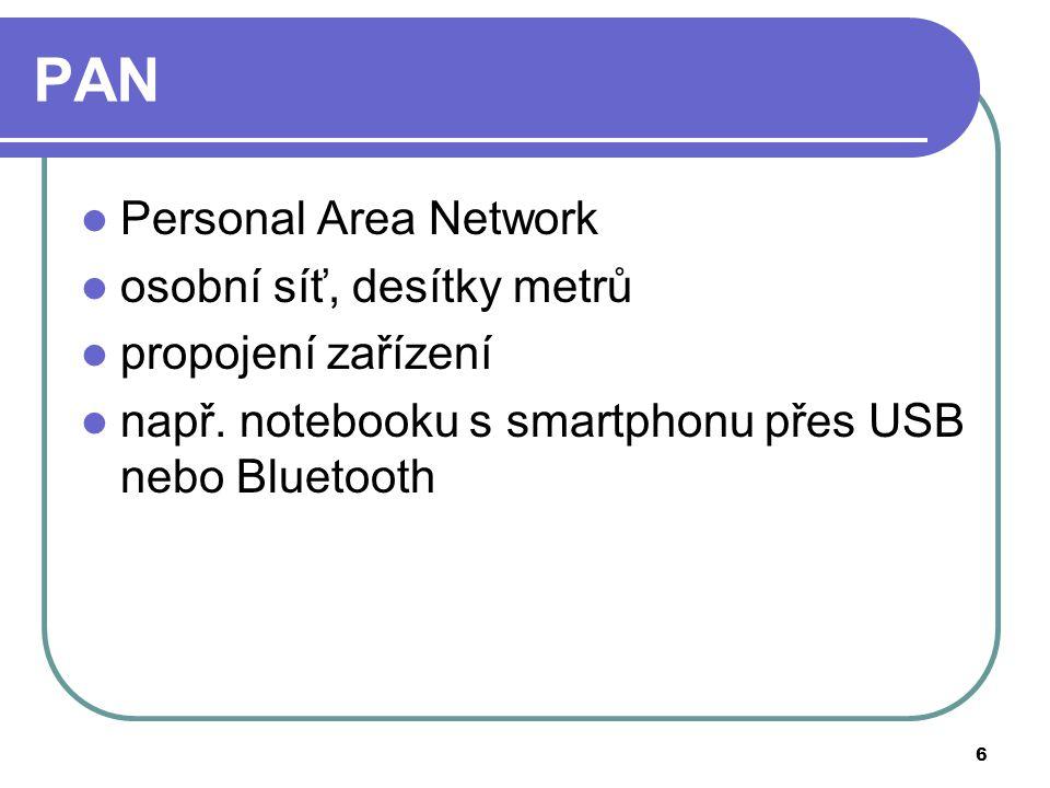 6 PAN Personal Area Network osobní síť, desítky metrů propojení zařízení např.