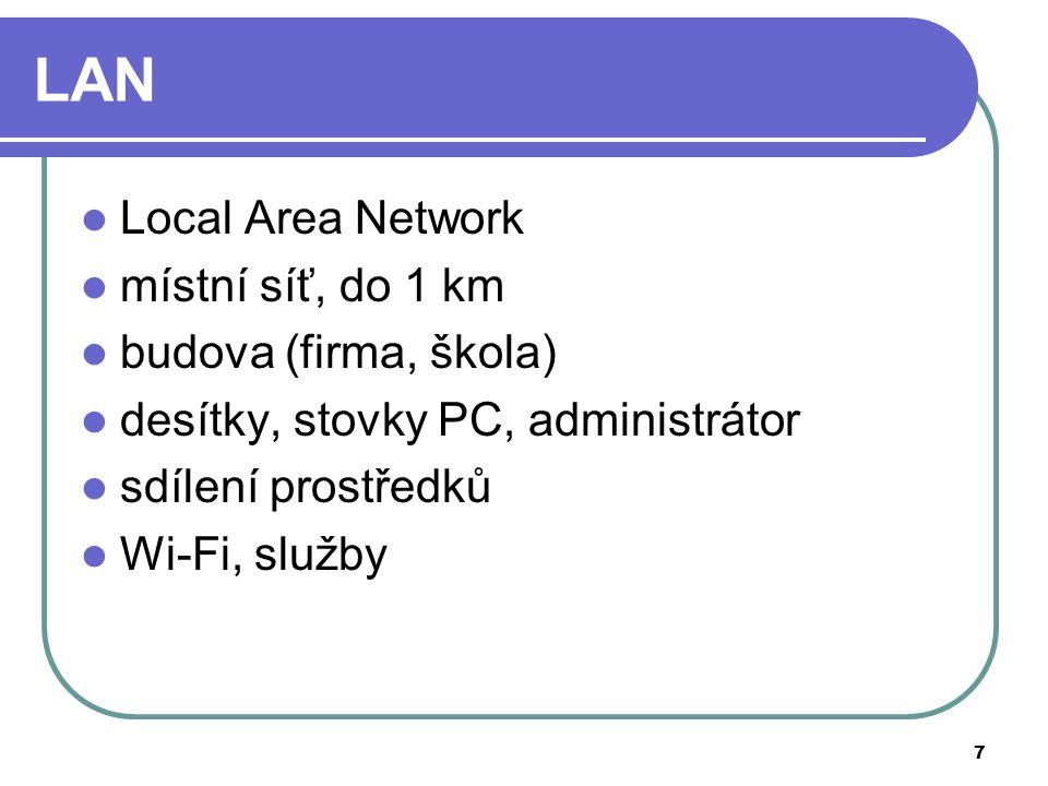 7 LAN Local Area Network místní síť, do 1 km budova (firma, škola) desítky, stovky PC, administrátor sdílení prostředků Wi-Fi, služby