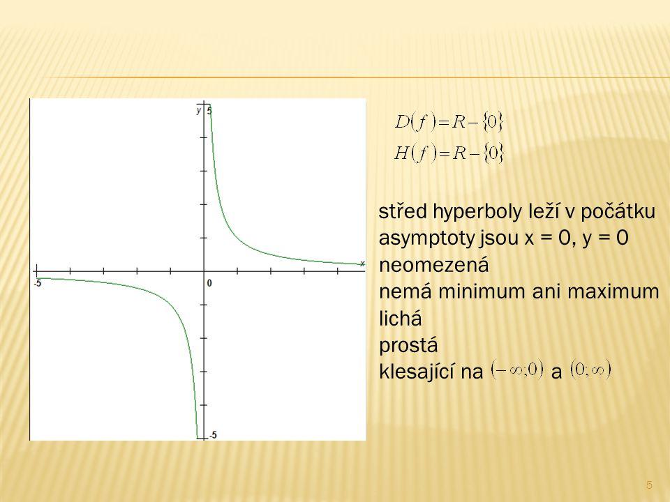 5 střed hyperboly leží v počátku asymptoty jsou x = 0, y = 0 neomezená nemá minimum ani maximum lichá prostá klesající na a