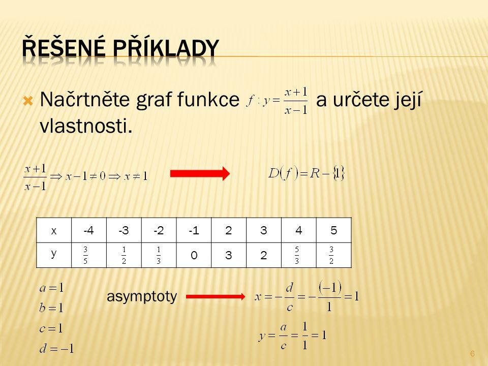  Načrtněte graf funkce a určete její vlastnosti. 6 x-4-3-22345 y 032 asymptoty