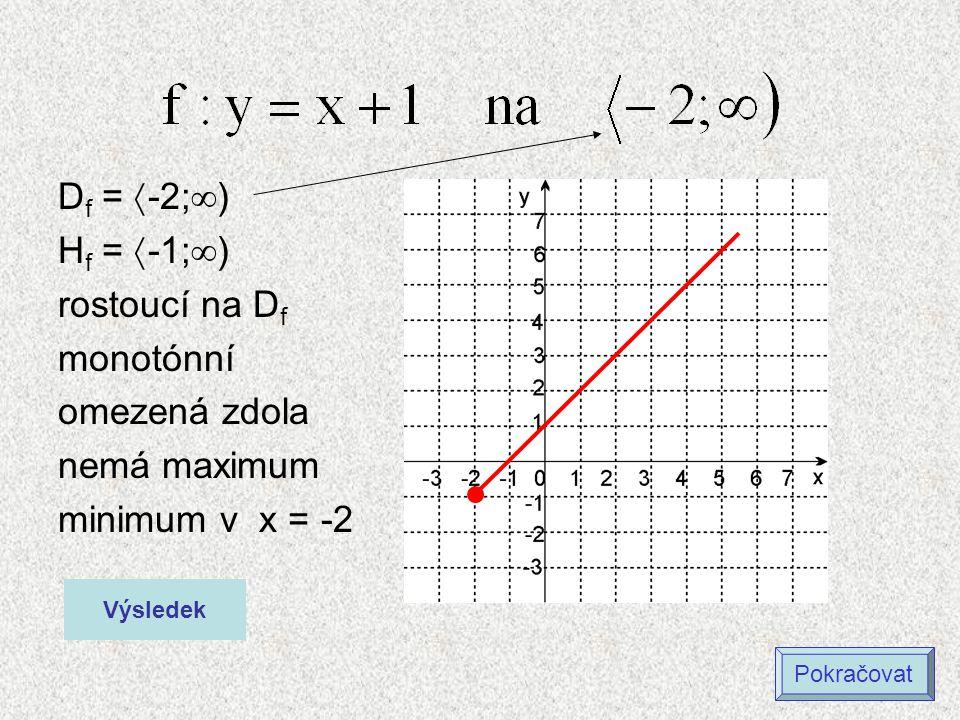 D f =  -2;  ) H f =  -1;  ) rostoucí na D f monotónní omezená zdola nemá maximum minimum v x = -2 Výsledek Pokračovat