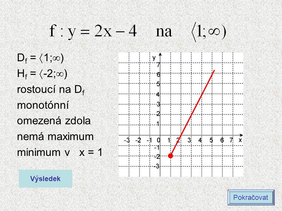 D f =  1;  ) H f =  -2;  ) rostoucí na D f monotónní omezená zdola nemá maximum minimum v x = 1 Výsledek Pokračovat