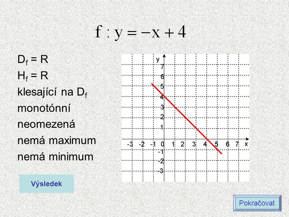 D f = (-  ;3) H f = (-  ;7) rostoucí na D f monotónní omezená shora nemá maximum nemá minimum Výsledek Maximální hodnota není definovaná!