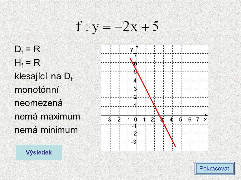 D f = R H f = R rostoucí na D f monotónní neomezená nemá maximum nemá minimum Výsledek Pokračovat