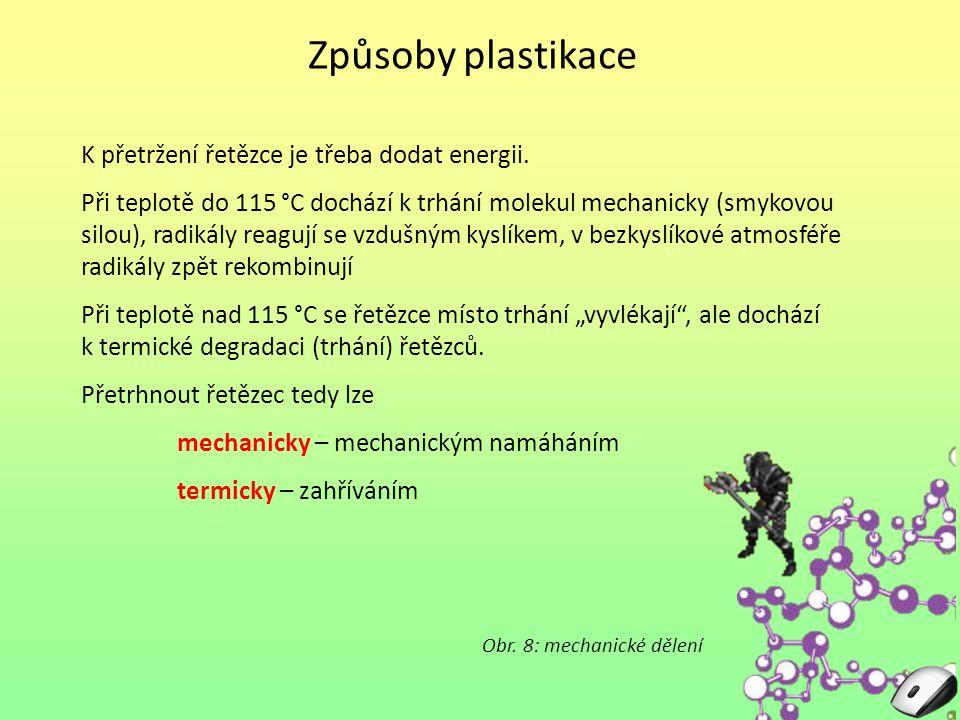 Způsoby plastikace K přetržení řetězce je třeba dodat energii. Při teplotě do 115 °C dochází k trhání molekul mechanicky (smykovou silou), radikály re