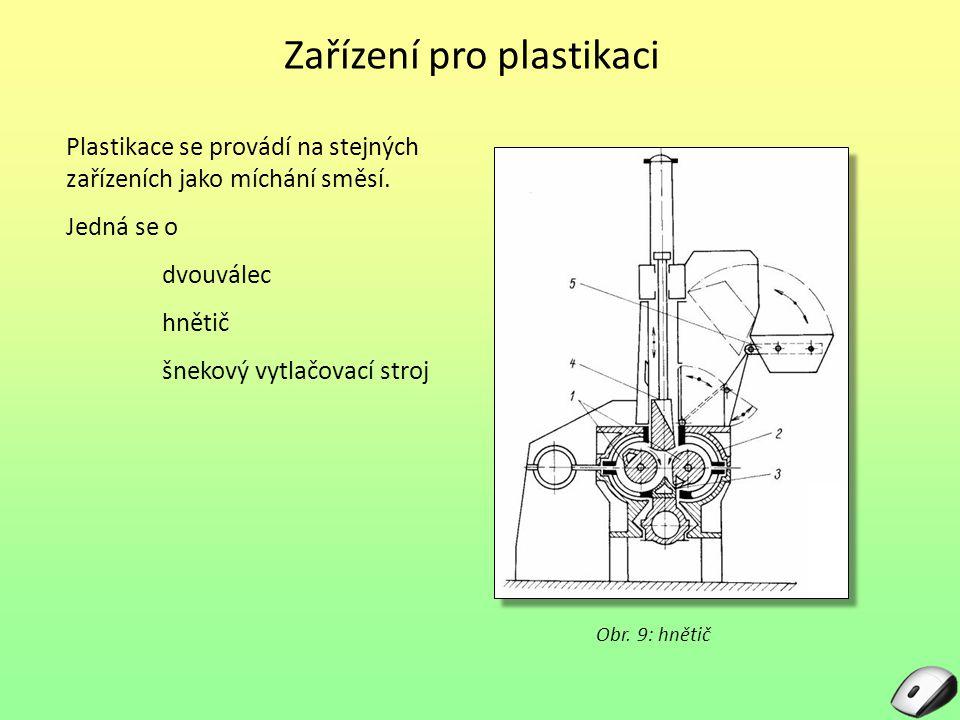 Zařízení pro plastikaci Plastikace se provádí na stejných zařízeních jako míchání směsí. Jedná se o dvouválec hnětič šnekový vytlačovací stroj Obr. 9: