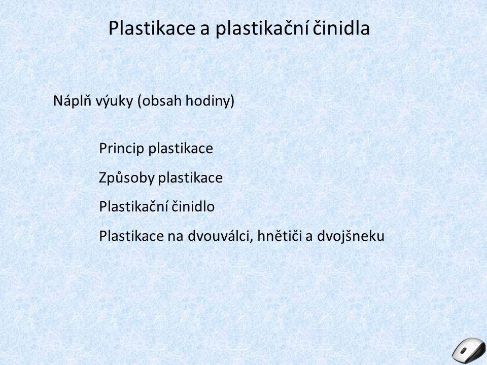 Princip plastikace Pod pojmem plastikace (starší termíny lámání či mastikace) se u kaučuku rozumí jeho uvedení do stavu, kdy je možno z něj připravit kaučukovou směs [2], jedná se o snížení molekulové hmotnosti [1].