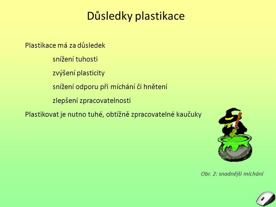 Důsledky plastikace Plastikace má za důsledek snížení tuhosti zvýšení plasticity snížení odporu při míchání či hnětení zlepšení zpracovatelnosti Plast