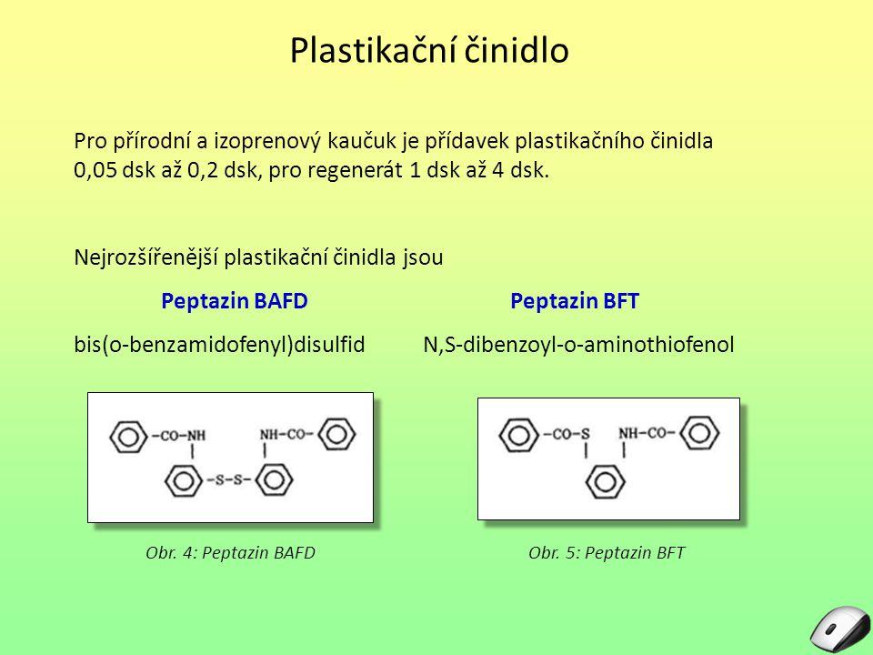 Plastikační činidlo Pro přírodní a izoprenový kaučuk je přídavek plastikačního činidla 0,05 dsk až 0,2 dsk, pro regenerát 1 dsk až 4 dsk. Nejrozšířeně