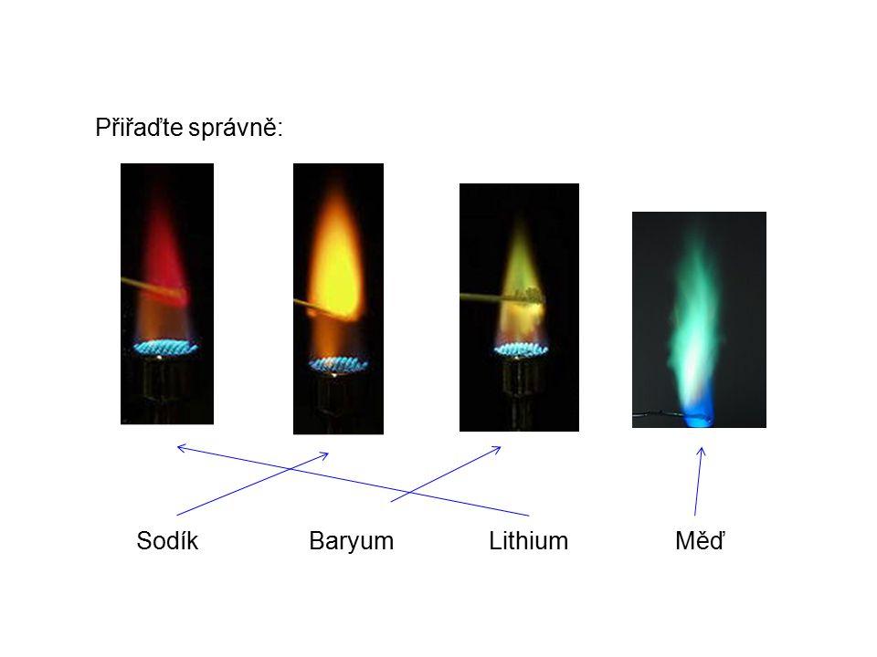 Přiřaďte správně: SodíkBaryumMěďLithium