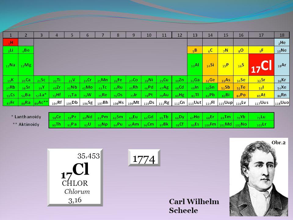1774 35,453 17 Cl CHLOR Chlorum 3,16 Carl Wilhelm Scheele Obr.2