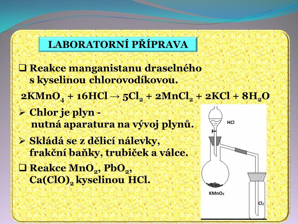 LABORATORNÍ PŘÍPRAVA  Reakce manganistanu draselného s kyselinou chlorovodíkovou.