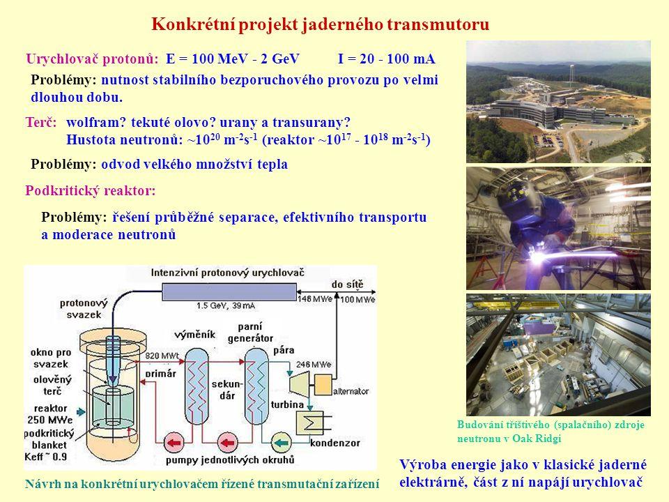 Konkrétní projekt jaderného transmutoru Urychlovač protonů: E = 100 MeV - 2 GeV I = 20 - 100 mA Problémy: nutnost stabilního bezporuchového provozu po
