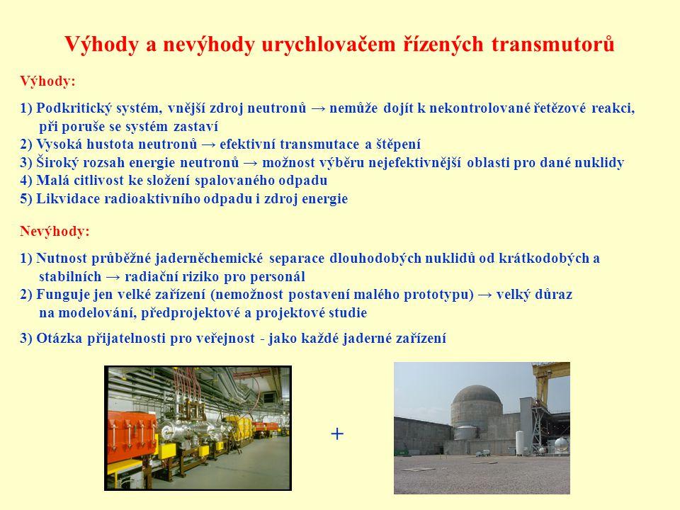 Výhody a nevýhody urychlovačem řízených transmutorů Výhody: 1) Podkritický systém, vnější zdroj neutronů → nemůže dojít k nekontrolované řetězové reak