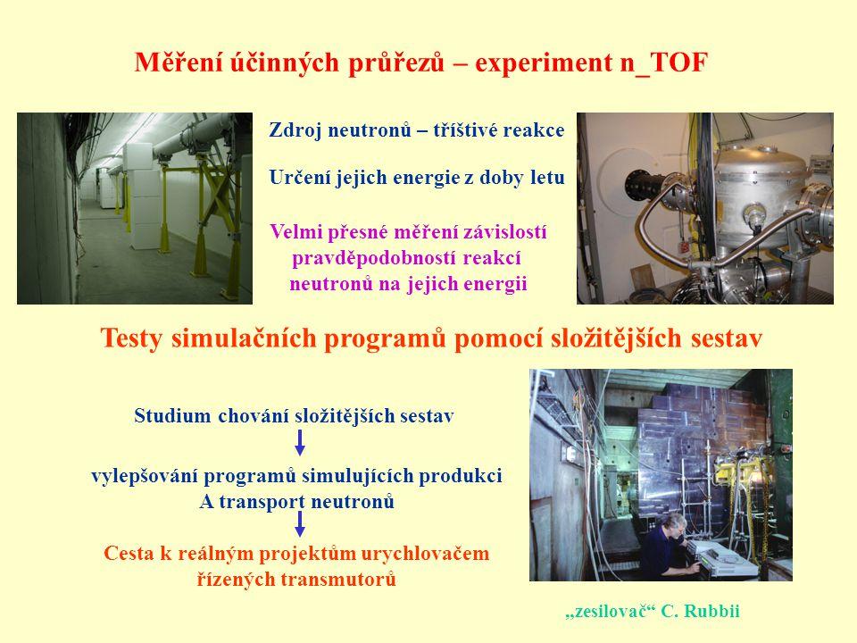 """Měření účinných průřezů – experiment n_TOF """"zesilovač"""" C. Rubbii Testy simulačních programů pomocí složitějších sestav Zdroj neutronů – tříštivé reakc"""