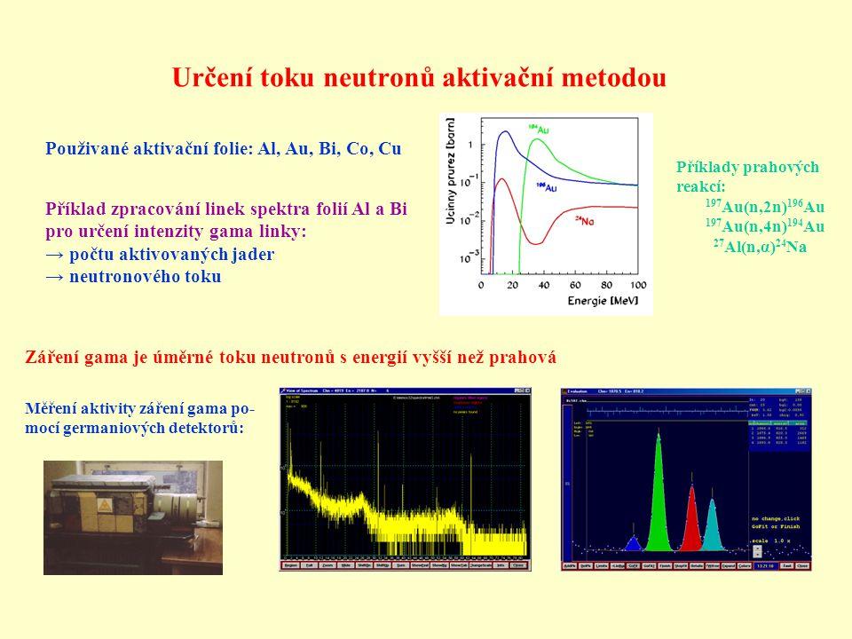 Určení toku neutronů aktivační metodou Použivané aktivační folie: Al, Au, Bi, Co, Cu Příklady prahových reakcí: 197 Au(n,2n) 196 Au 197 Au(n,4n) 194 A