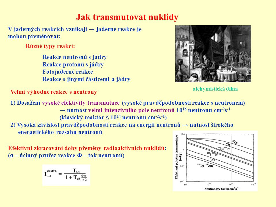 Jak transmutovat nuklidy V jaderných reakcích vznikají → jaderné reakce je mohou přeměňovat: Různé typy reakcí: Reakce neutronů s jádry Reakce protonů