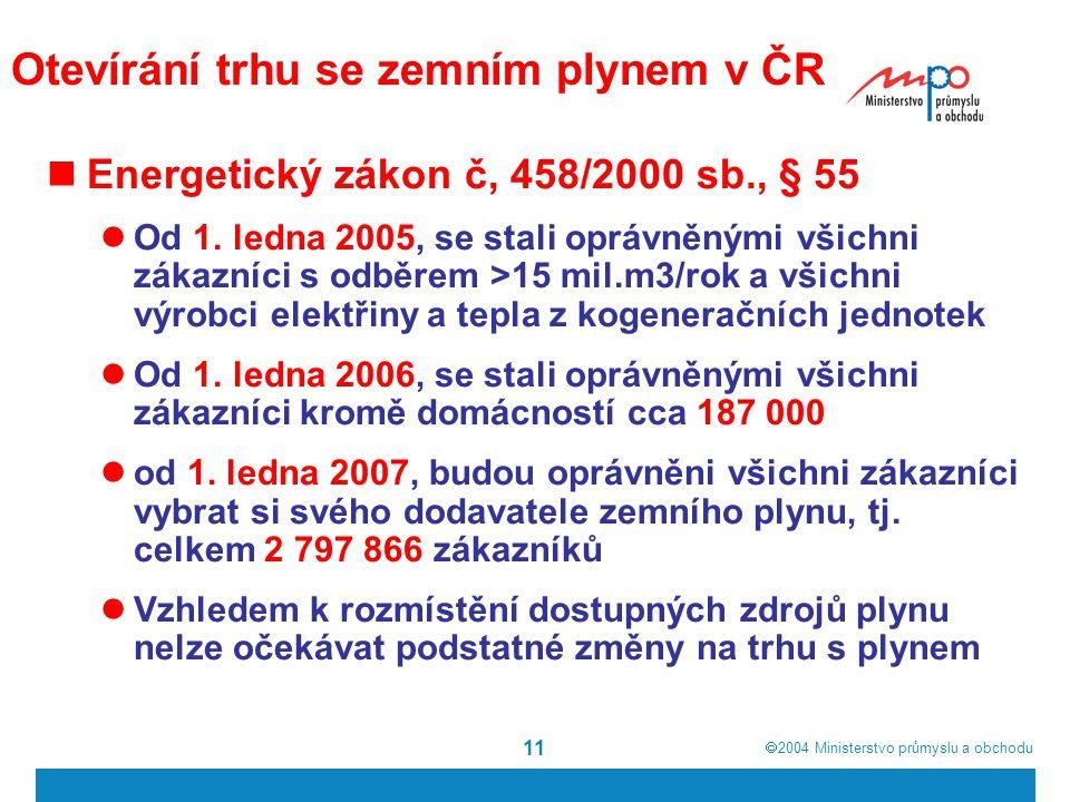  2004  Ministerstvo průmyslu a obchodu 11 Otevírání trhu se zemním plynem v ČR Energetický zákon č, 458/2000 sb., § 55 Od 1.
