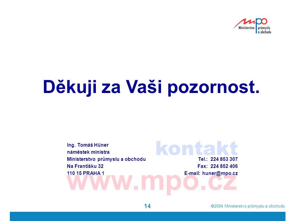  2004  Ministerstvo průmyslu a obchodu 14 kontakt www.mpo.cz Děkuji za Vaši pozornost.