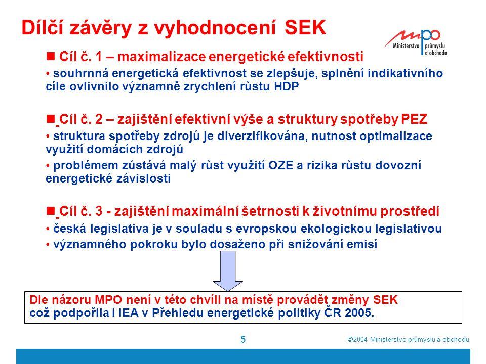  2004  Ministerstvo průmyslu a obchodu 5 Dílčí závěry z vyhodnocení SEK Cíl č.