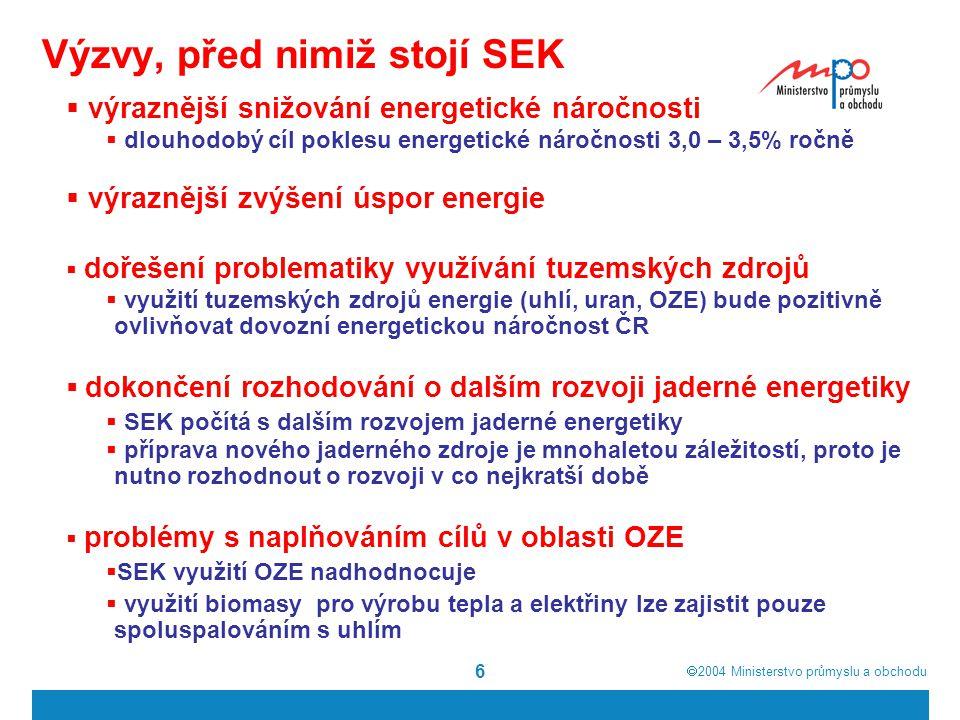  2004  Ministerstvo průmyslu a obchodu 6 Výzvy, před nimiž stojí SEK  výraznější snižování energetické náročnosti  dlouhodobý cíl poklesu energetické náročnosti 3,0 – 3,5% ročně  výraznější zvýšení úspor energie  dořešení problematiky využívání tuzemských zdrojů  využití tuzemských zdrojů energie (uhlí, uran, OZE) bude pozitivně ovlivňovat dovozní energetickou náročnost ČR  dokončení rozhodování o dalším rozvoji jaderné energetiky  SEK počítá s dalším rozvojem jaderné energetiky  příprava nového jaderného zdroje je mnohaletou záležitostí, proto je nutno rozhodnout o rozvoji v co nejkratší době  problémy s naplňováním cílů v oblasti OZE  SEK využití OZE nadhodnocuje  využití biomasy pro výrobu tepla a elektřiny lze zajistit pouze spoluspalováním s uhlím