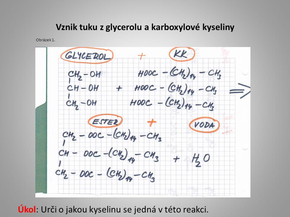 Vznik tuku z glycerolu a karboxylové kyseliny Úkol: Urči o jakou kyselinu se jedná v této reakci. Obrázek 1.