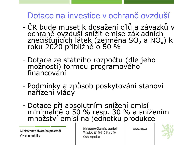 Dotace na investice v ochraně ovzduší -ČR bude muset k dosažení cílů a závazků v ochraně ovzduší snížit emise základních znečišťujících látek (zejména SO 2 a NO x ) k roku 2020 přibližně o 50 % -Dotace ze státního rozpočtu (dle jeho možností) formou programového financování -Podmínky a způsob poskytování stanoví nařízení vlády -Dotace při absolutním snížení emisí minimálně o 50 % resp.