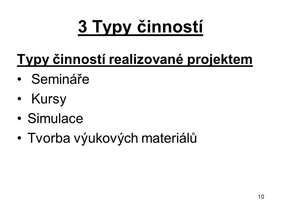10 3 Typy činností Typy činností realizované projektem Semináře Kursy Simulace Tvorba výukových materiálů