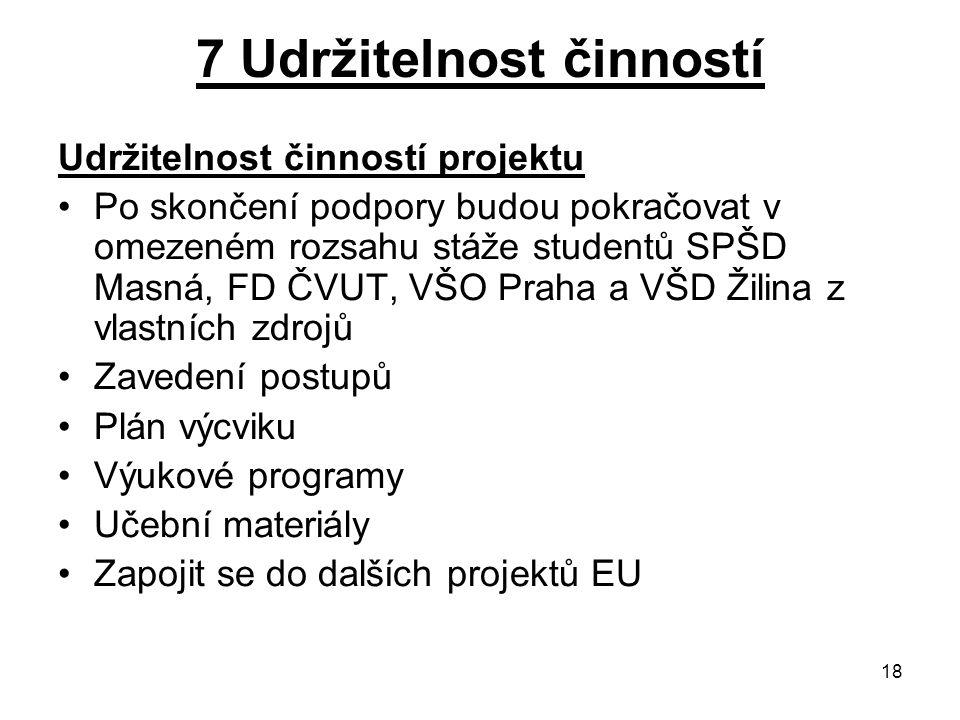 18 7 Udržitelnost činností Udržitelnost činností projektu Po skončení podpory budou pokračovat v omezeném rozsahu stáže studentů SPŠD Masná, FD ČVUT,
