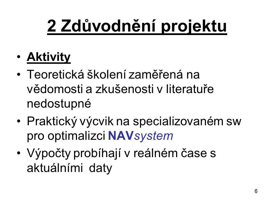 6 2 Zdůvodnění projektu Aktivity Teoretická školení zaměřená na vědomosti a zkušenosti v literatuře nedostupné Praktický výcvik na specializovaném sw
