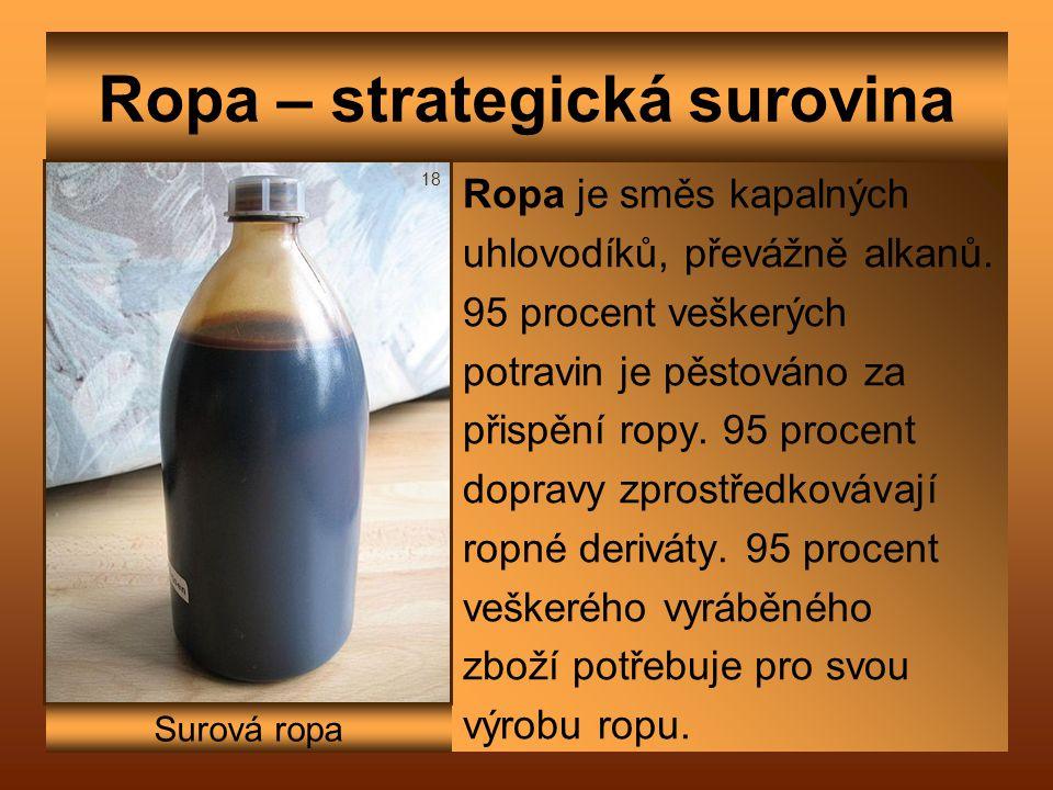 Ropa – strategická surovina Ropa je směs kapalných uhlovodíků, převážně alkanů. 95 procent veškerých potravin je pěstováno za přispění ropy. 95 procen